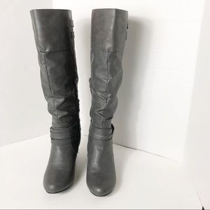 Rampage Gray Knee Length Boots